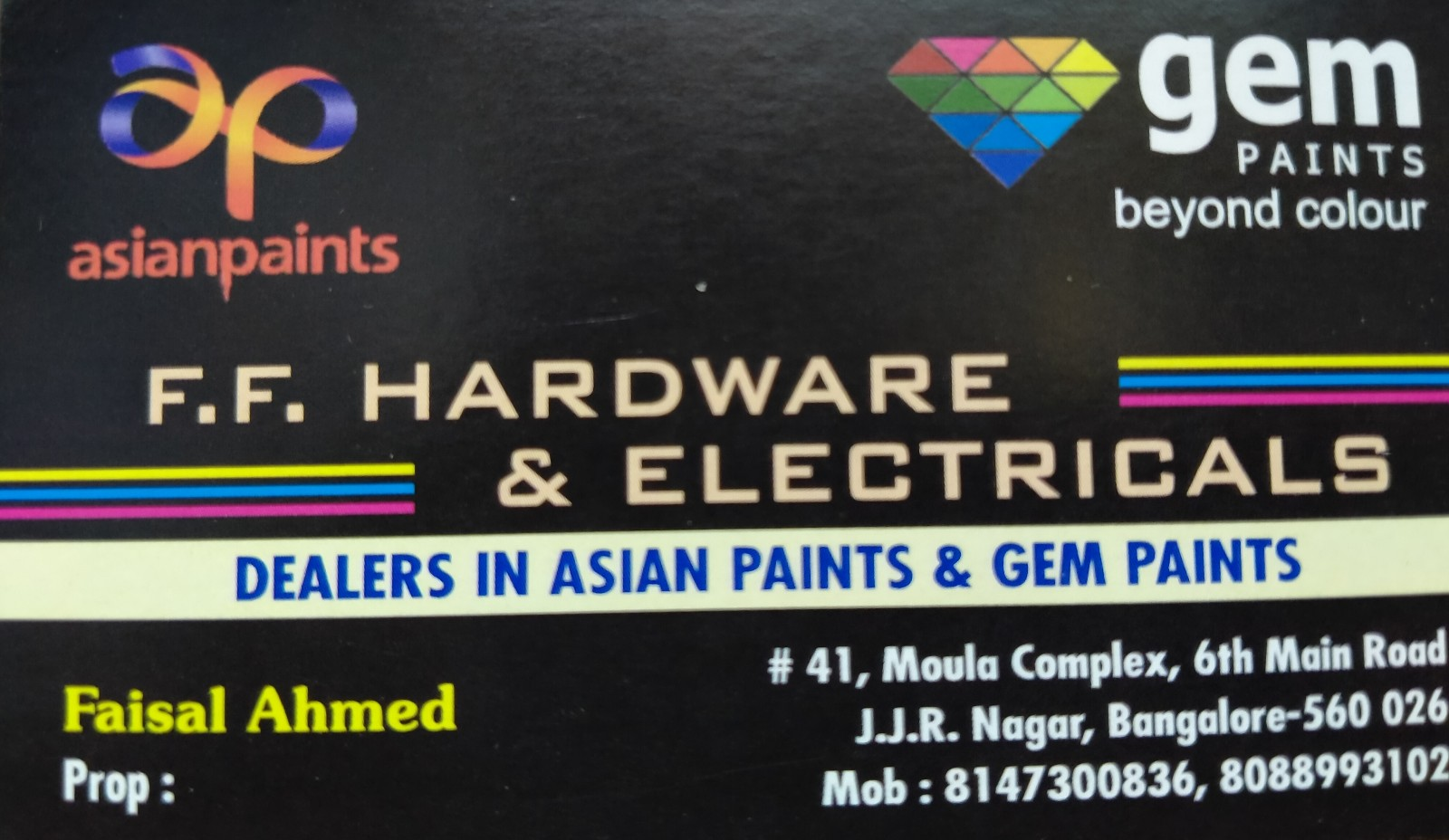FF HARDWARE AND ELECTRICALS, BANGALORE, ALL ASIAN AND GEM PAINTS RANGE AVAILABLE