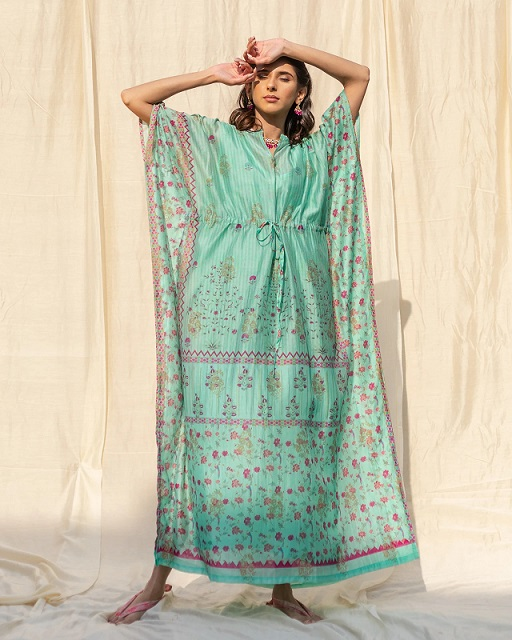 Best Blue Banarasi Kaftan, New Delhi, TheboozyButton is the Best Fashion Online Store in India, This Best Blue kaftan is Easy, breezy, flowy and comfortable kaftans to wear while lounging